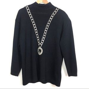St. John Separates Chain Necklace Sweater